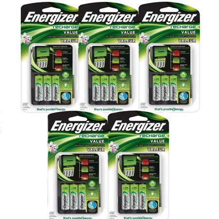 - 5 Pack Energizer Value Charger with AA Rechargeable NiMH Batteries CHVCMWB-4