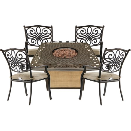 Magnificent Hanover Traditions 5 Piece Patio Fire Pit Chat Set With 4 Cushioned Dining Chairs And A 30 000 Btu Cast Top Propane Fire Pit Table Walmart Com Squirreltailoven Fun Painted Chair Ideas Images Squirreltailovenorg