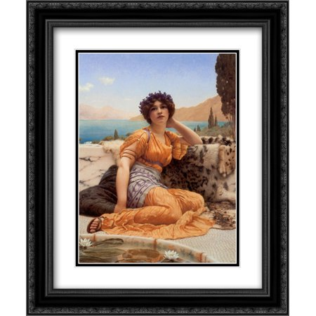 John William Godward 2x Matted 20x24 Black Ornate Framed Art Print ''With Violets Wreathed and Robe of Saffron Hue''
