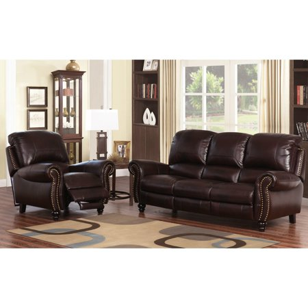 Abbyson Cambridge Burgundy Leather Pushback Reclining Chair and Sofa Set