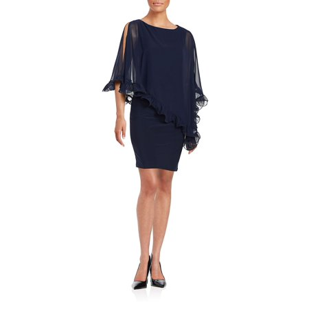 Ruffled Chiffon Overlay Dress - Bebe Party Dress