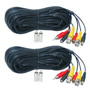 VideoSecu 2x 50ft Audio Video Wire Cord Power Extension Cable with Free BNC/RCA Adapters for CCTV Surveillance Security Camera with Free BNC RCA Connectors b2p