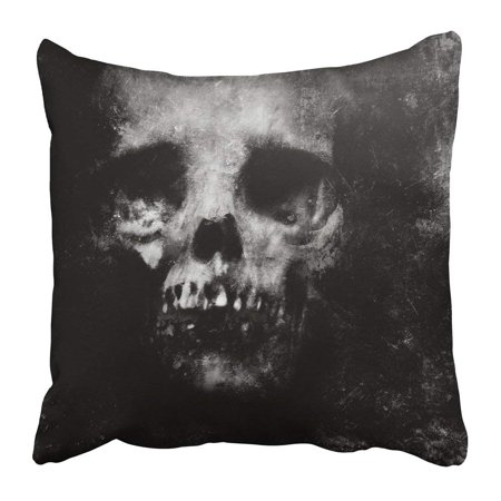 ARTJIA Black Zombie Scary Grunge Halloween with Spooky Skull Face Skeleton Effect Fear Dark Death Abstract Pillowcase 20x20 inch (Halloween Photo Effect)