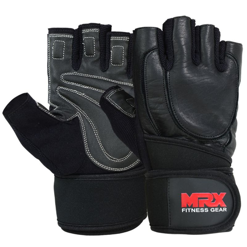 MRX Weight Lifting Leather Gloves With Long Wrist Strap for Better Wrist Support in Leather Black Large