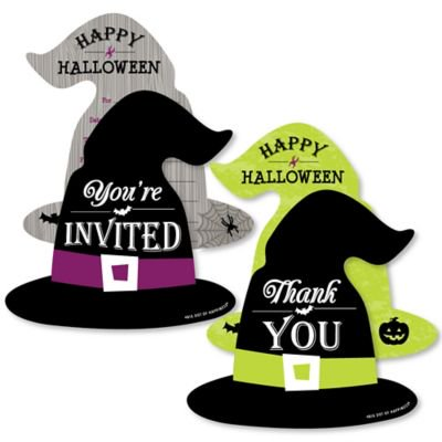 Halloween Party Invitation Wording For Adults (Happy Halloween - 20 Shaped Fill-In Invitations and 20 Shaped Thank You Cards Kit - Witch Party Stationery Kit - 40)