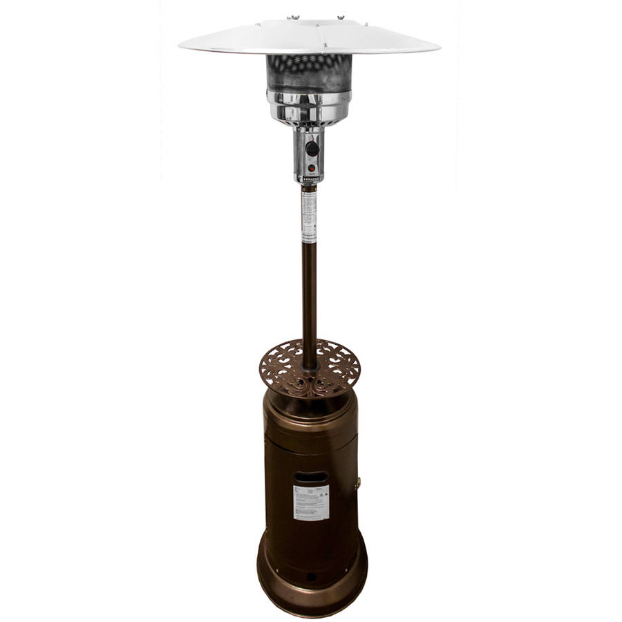 Hiland Tall Hammered Bronze Patio Heater with Scroll Table by Patio Heaters