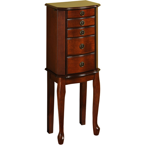 Linon Ruby FiveDrawer Jewelry Armoire With Mirror Cherry Walmartcom