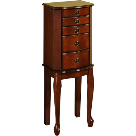 Linon Ruby Five-Drawer Jewelry Armoire With Mirror, Cherry