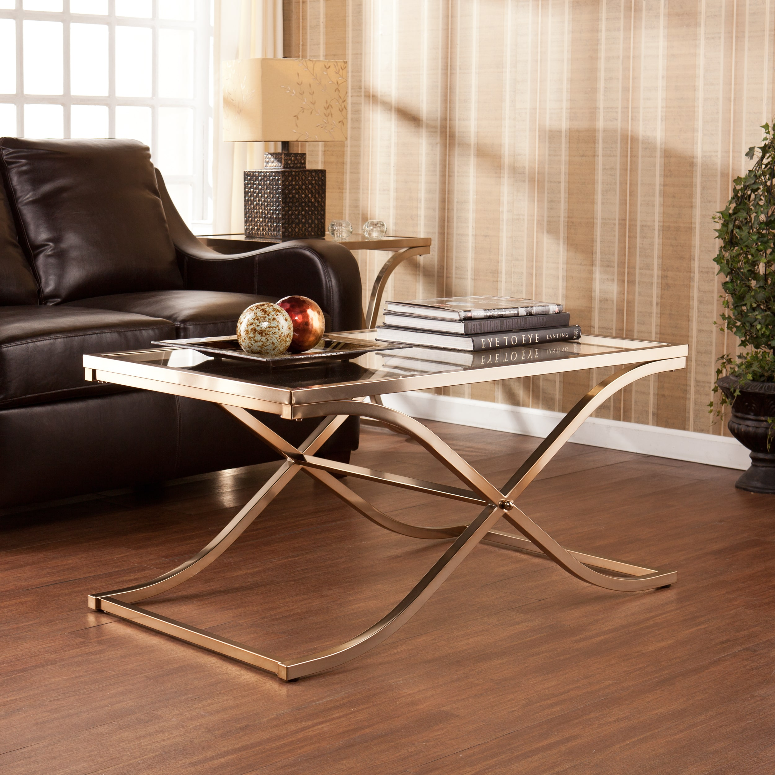 Harper Blvd Ambrosia Champagne Brass Cocktail Coffee Table