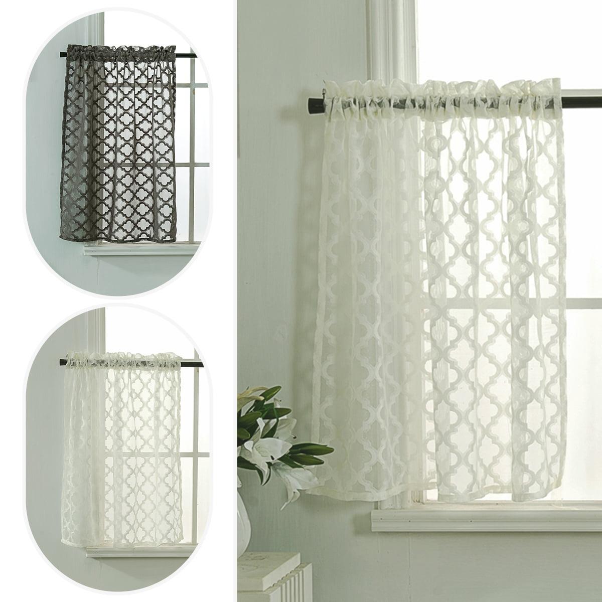 Sheer Kitchen Tiers Curtains Rhombus Jacquard Short Half Window Drapes Valance Home Decoration Walmart Com Walmart Com