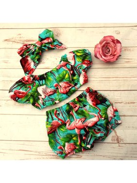 3pcs Toddler Kids Baby Girl Flamingo Off Shoulder Top Pants Outfits Clothes Summer