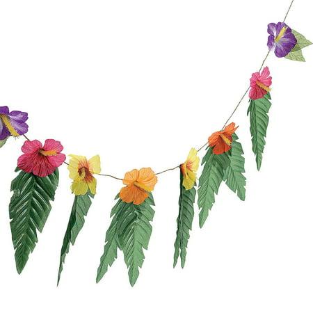 Cheap Hawaiian Garlands (Hawaiian Luau Garland With Flowers and Green Leaves)