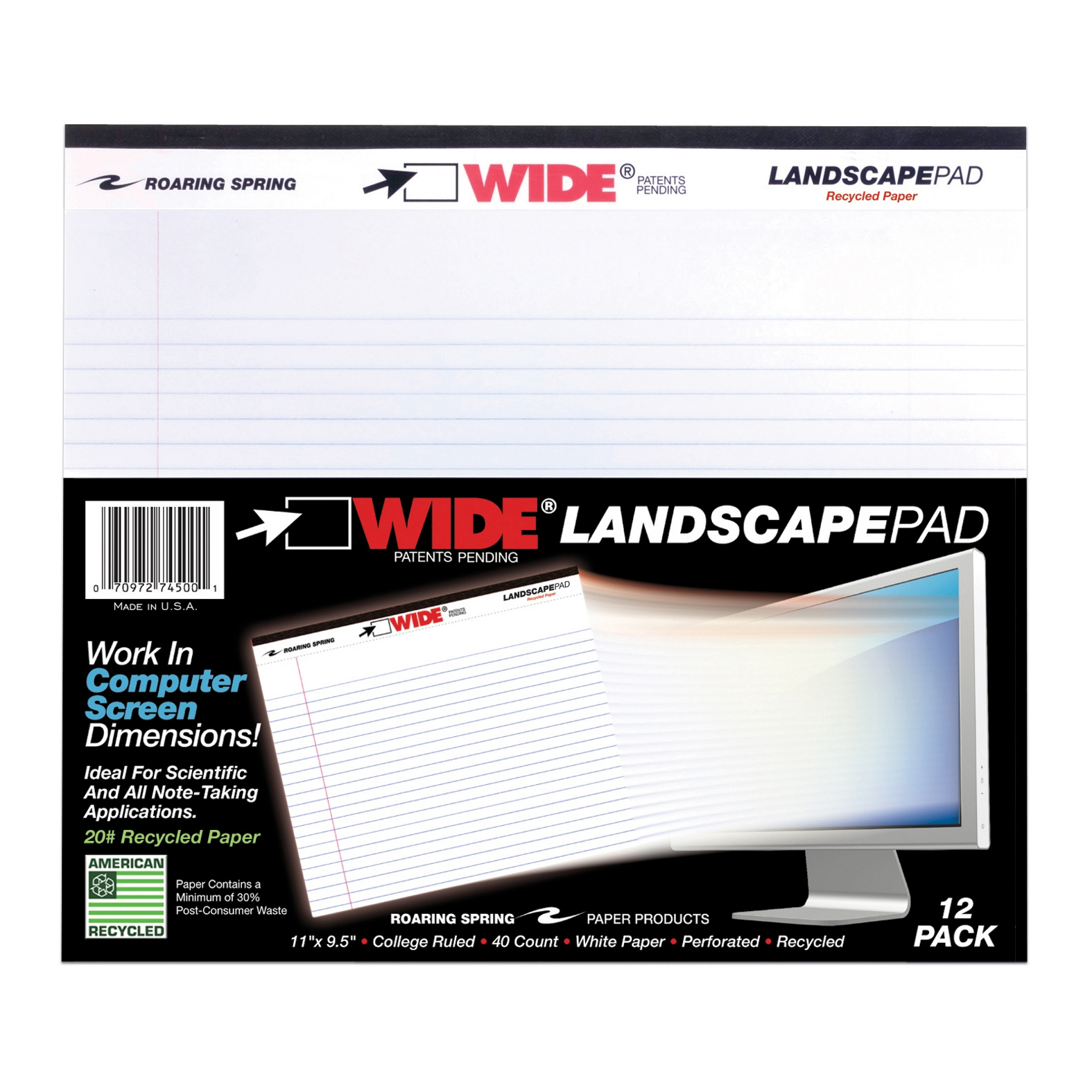"LANDSCAPE PAD WHITE 11""x9.5"" COLLEGE RULED WITH MARGIN"