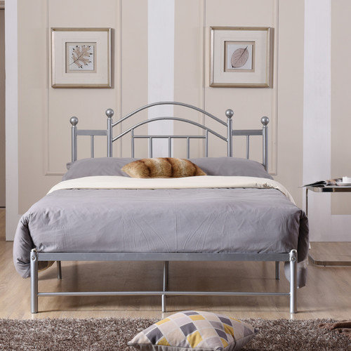 Hodedah Complete Metal Bed with Headboard, Low Footboard, Slats and Rails, Twin Size, Silver by Hodedah