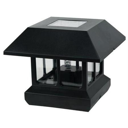 Northern International Black Plastic Solar Post Light With White LED Light & Cle