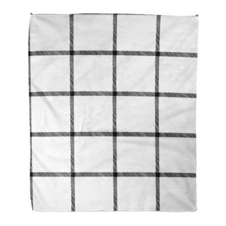 ASHLEIGH Flannel Throw Blanket Pattern Windowpane Sketchy Plaid Pattern Printing Black Cad Check Drawing Flat 58x80 Inch Lightweight Cozy Plush Fluffy Warm Fuzzy Soft