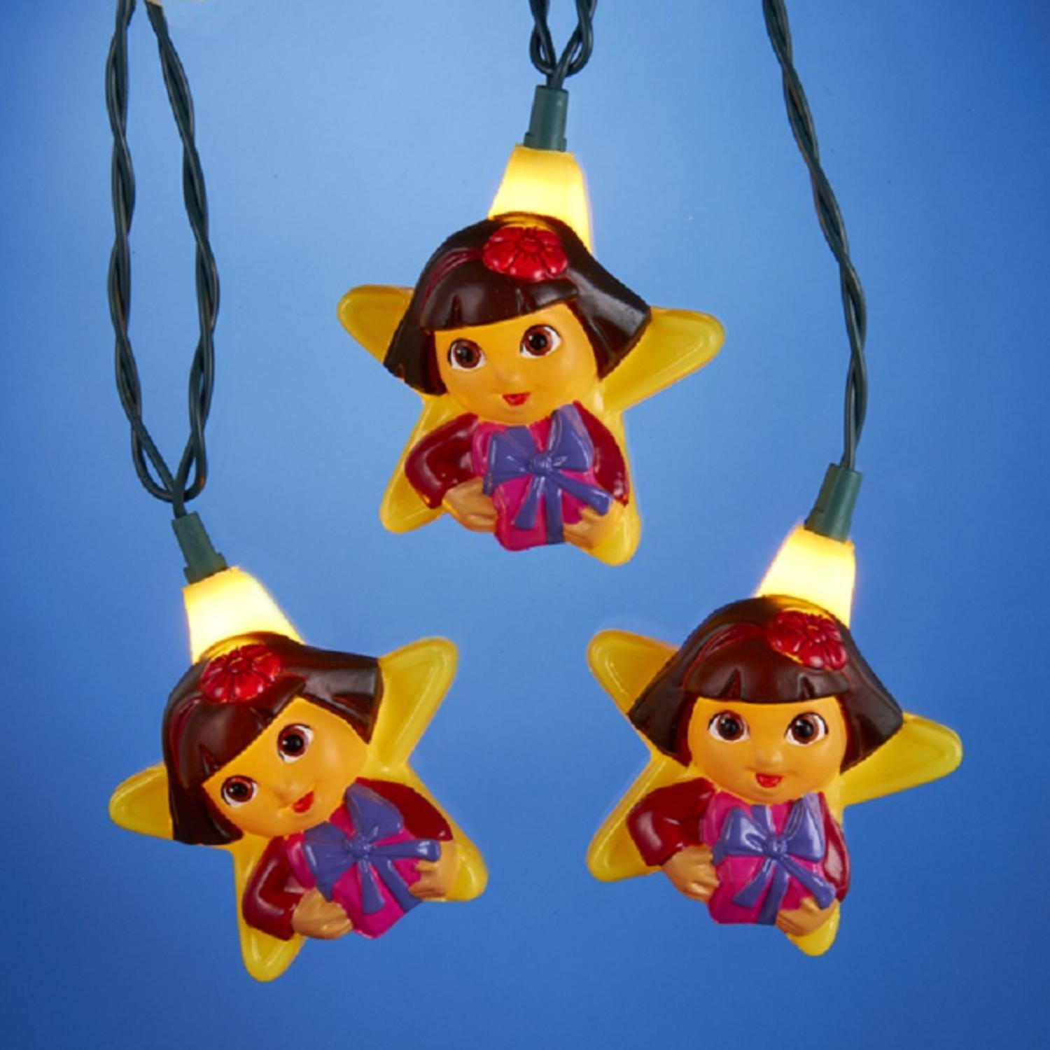 Set of 10 Dora the Explorer Novelty Christmas Lights - Green Wire