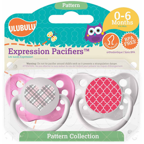 Ulubulu Pink Plaid Heart/Pink Moroccan Pacifiers, 0-6 Months, 2-Pack