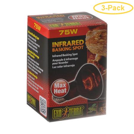 Exo-Terra Heat Glo Infrared Heat Lamp 75 Watts - Pack of 3