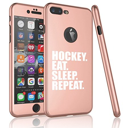 - For Apple iPhone 360° Full Body Thin Slim Hard Case Cover + Tempered Glass Screen Protector Hockey Eat Sleep Repeat (Rose Gold For iPhone X)