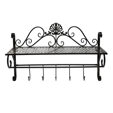 Beautiful Black Metal Decorative Wall Mounted Storage Shelf W 5 Hooks Bathroom Towel Rack By Dazone
