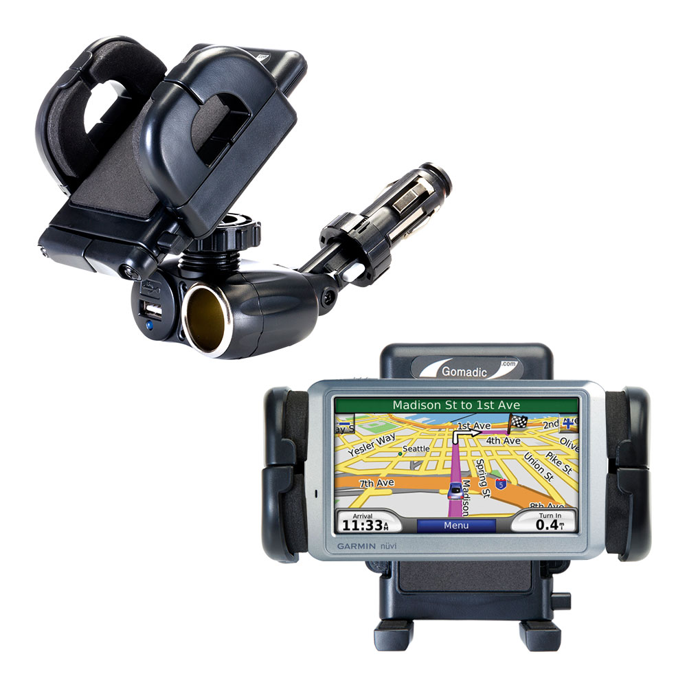 Dual USB / 12V Charger Car Cigarette Lighter Mount and Holder for the Garmin Nuvi 765T
