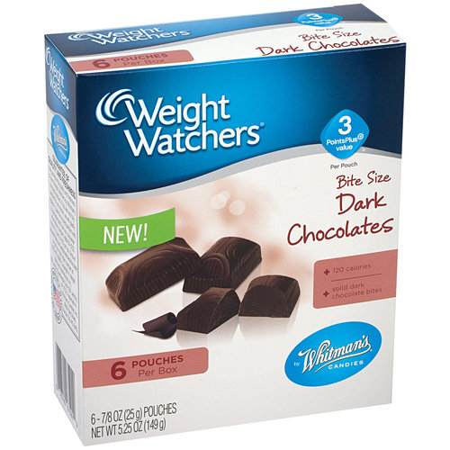 Whitman's Weight Watchers Bite Size Dark Chocolates, 0.875 oz, 6 count