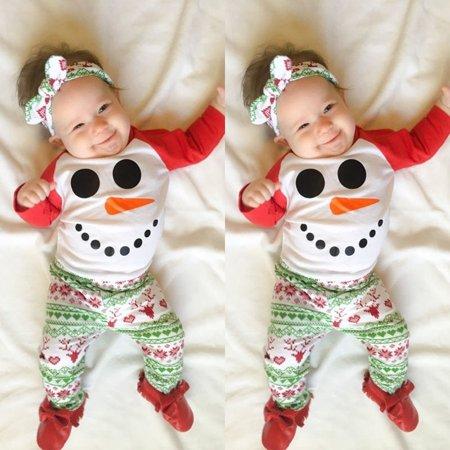 Xmas 2PCS Christmas Newborn Baby Boys Girls Romper Jumpsuit Bodysuit+Pants Clothes Outfits Set Snowman