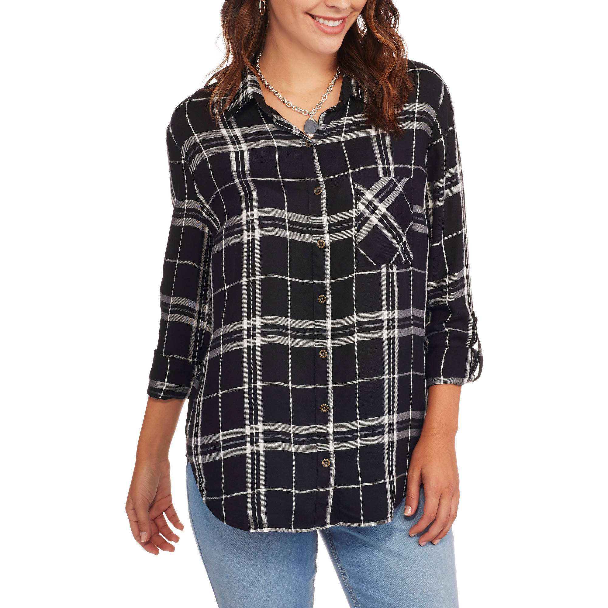 Faded Glory Women's Classic Plaid Lightweight Boyfriend Shirt