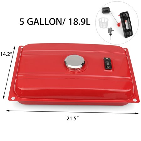 Universal 5 Gallon Generator Fuel Tank Kit with Filter + Fuel Cap + Gauge +  Valve Petcock Fit for Honda EC2500
