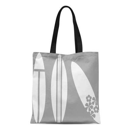 SIDONKU Canvas Tote Bag Surfing Surfboard in Gray and Surfer Beach Summer Nautical Reusable Handbag Shoulder Grocery Shopping Bags](Gray Tote Bag)