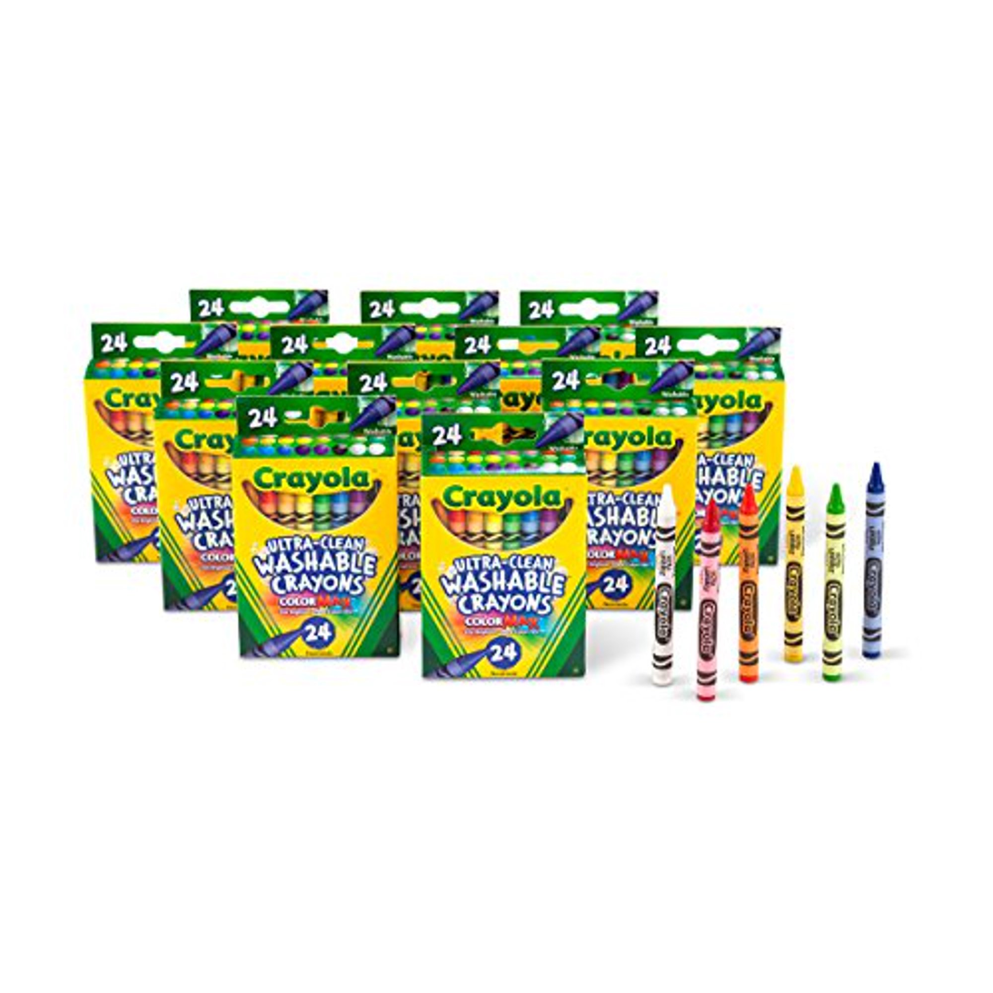 Crayola Ultra Clean Washable Crayons, Bulk Set, 12 Packs Of 24 Count
