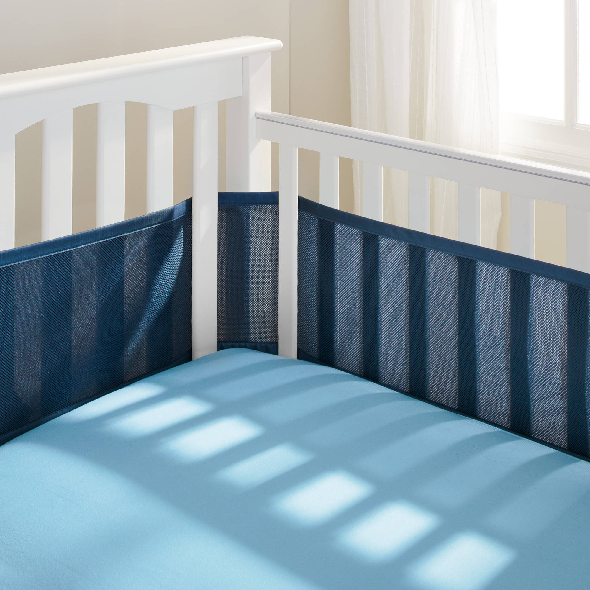 BreathableBaby - Breathable Crib Liner, Fits All Cribs, Navy