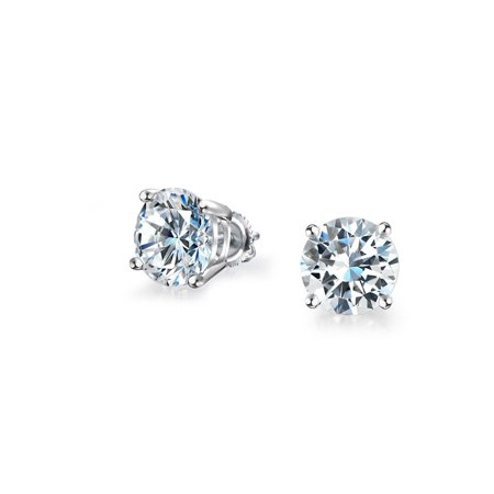 .50 Ct Round Cubic Zirconia Brilliant Cut CZ Solitaire Stud Earrings For Women For Men 925 Sterling Silver Screwback (Screwback Earrings For Women)