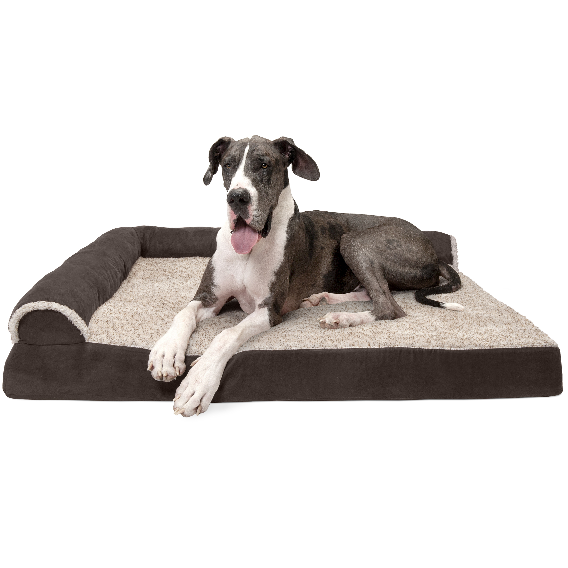 FurHaven Pet Dog Bed | Deluxe Orthopedic Faux Fur & Suede L-Shaped Chaise Couch Pet Bed for Dogs & Cats, Espresso, Jumbo Plus
