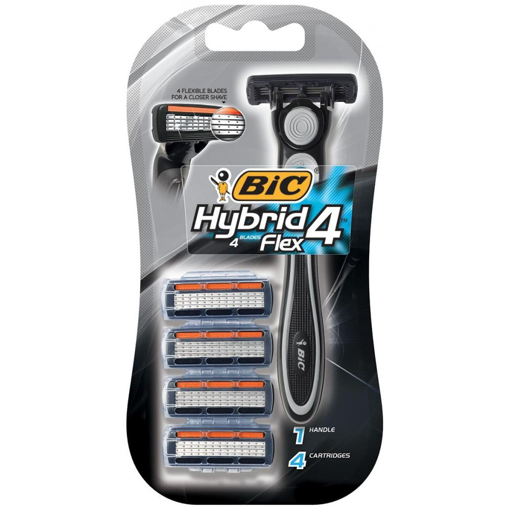 BIC Hybrid 4 Flex Men's Disposable Razor & Cartridges 4-Pack
