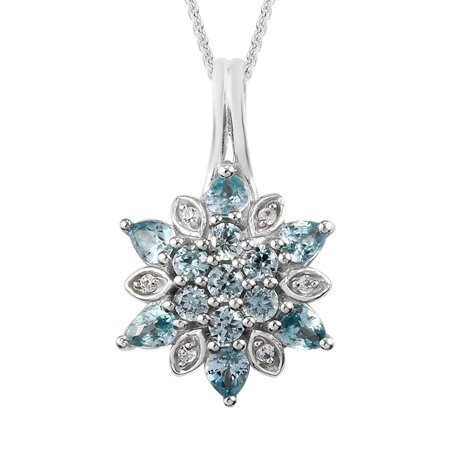 """Shop LC 925 Sterling Silver Pear Blue Zircon Flower Necklace Platinum Plated Pendant Bridal Anniversary Engagement Wedding Size 20"""" Ct 1.7 For Women Jewelry"""