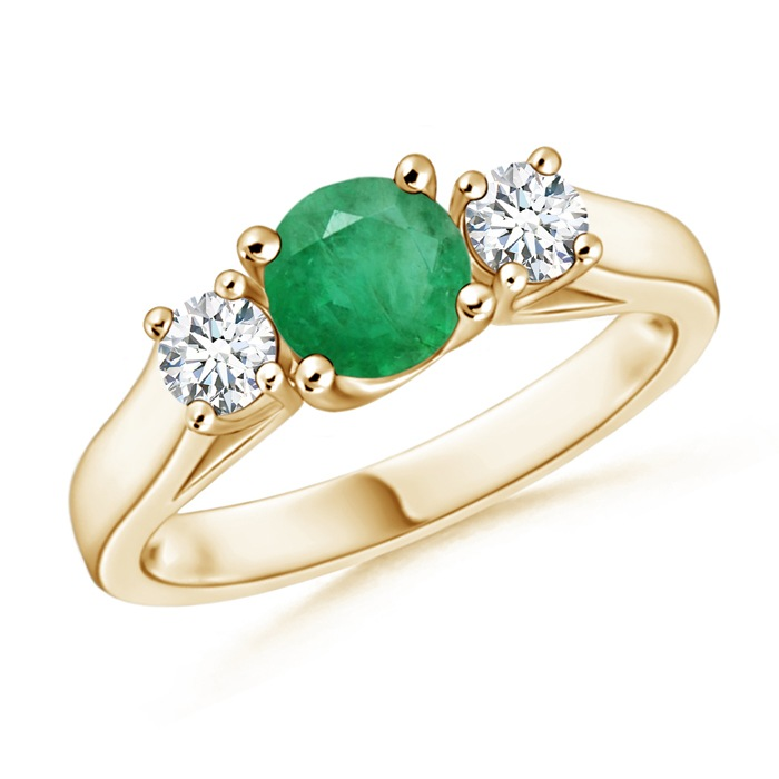 Angara May Birthstone Ring Classic Round Emerald And Diamond