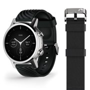 Moto 360 Wear OS by Google - The Luxury Stainless Steel Smartwatch with Included Genuine Leather and High-Impact Sports Bands - Steel Grey