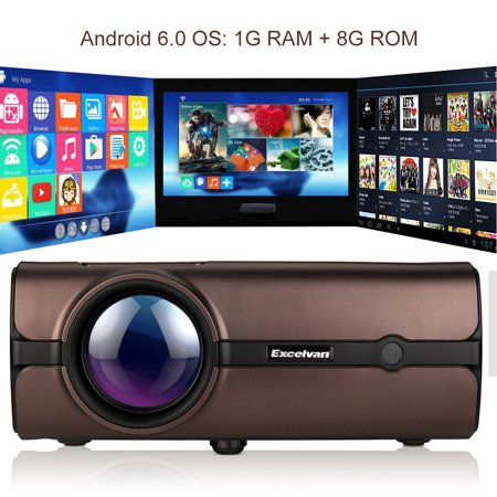 Excelvan Mini Projector Portable 1080P LCD Projector, Android 6 0  Multimedia 1G RAM 8G ROM Support bluetoooth 4 0 wirelless Connection For PC  Game