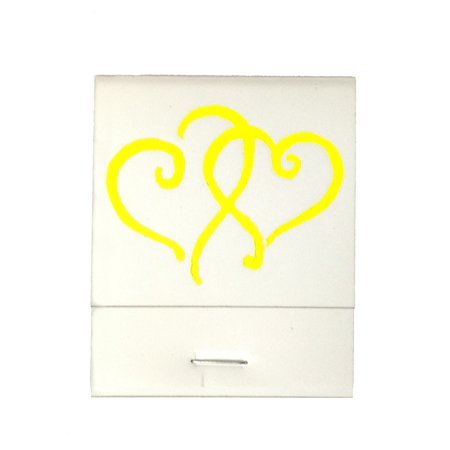 50 White 20 Strike Matches with  Printed Hearts in Yellow Matchbooks for Wedding, Anniversary, Birthdays - Wedding Matchbooks