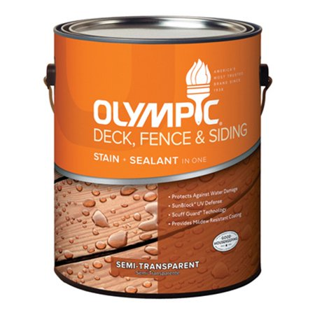 Olympic/Ppg Architectural Fin 58805A/01 Deck, Fence & Siding Stain & Sealant, Exterior, Semi-Transparent Oil, Redwood, (Exterior Oil Stain)