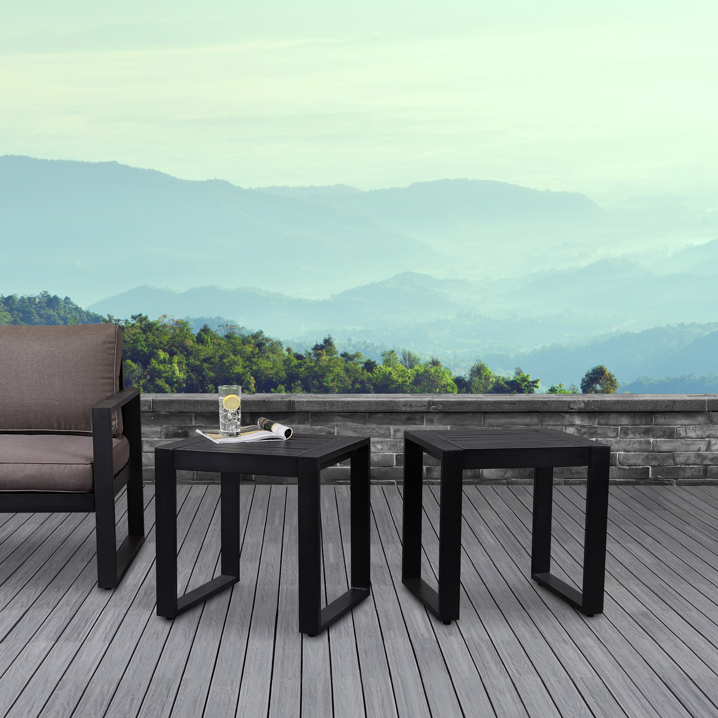 Baltic End Tables in Black Set of Two by Real Flame