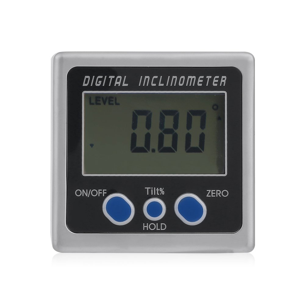 Portable Digital Display Inclinometer Portable Digital Display Inclinometer Electronic Gauge Sea Level Protractor Magnetic Base Measurement Accuracy 0.05 Degree, Grey&Blue