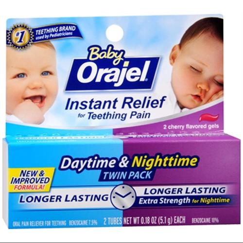 Baby Orajel Daytime & Nighttime Fast Teething Pain Relief 0.36 oz (Pack of 6)