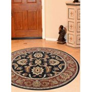 Rugsotic Carpets Hand Tufted Wool 8'x8' Round Area Rug Oriental Black Rust K00117