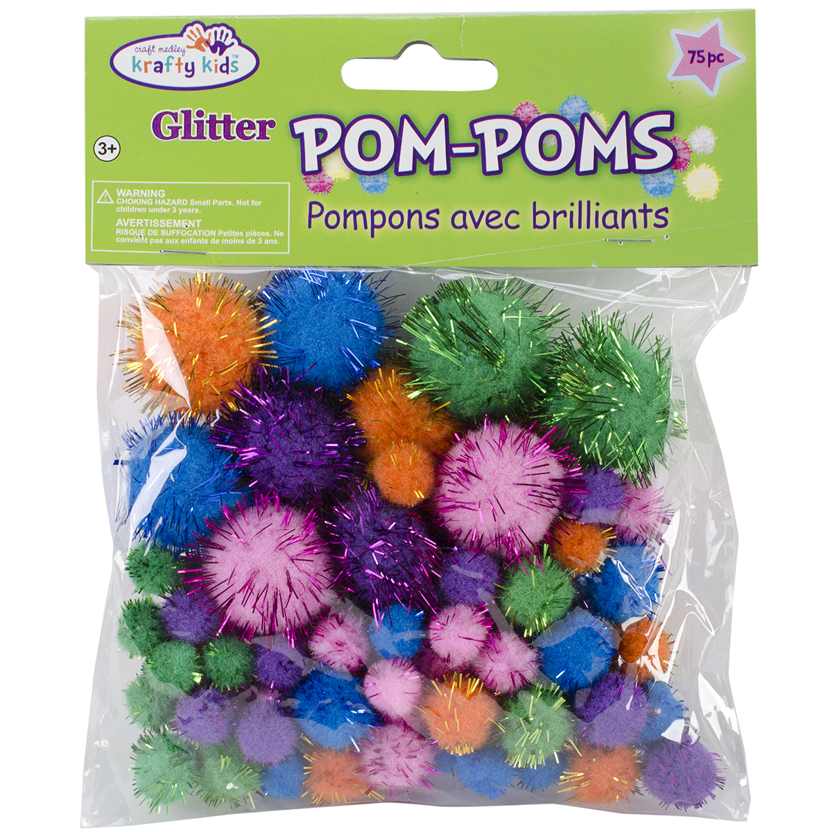 Multicraft Pom-Poms Glitter Pack, Assorted Glamour Colors and Sizes, 75pk