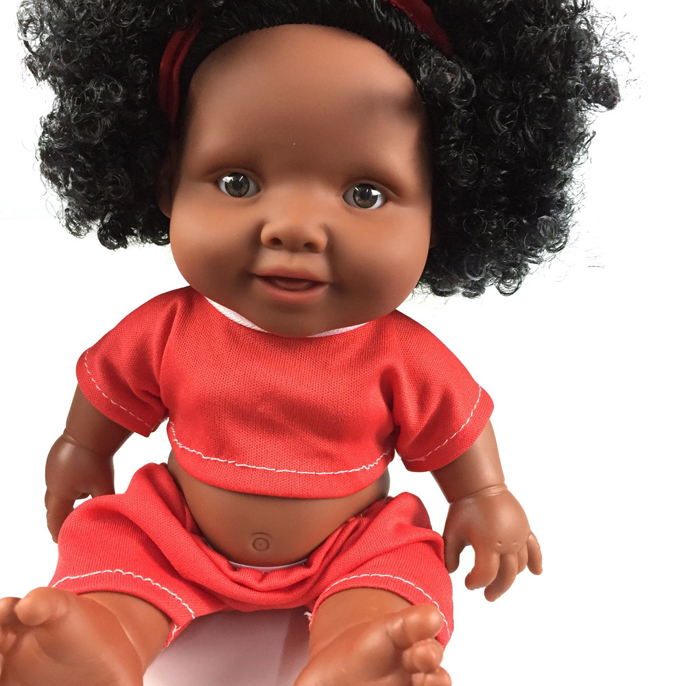 Iuhan 10inch African Baby Doll Intellectual Children Movable Joint Doll Toy Doll