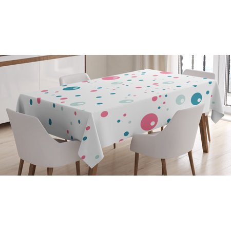 Dining Room Round Table (Abstract Tablecloth, Bubble Like Big and Little Polka Dots in Pastel Colors Modern Rounded Design, Rectangular Table Cover for Dining Room Kitchen, 60 X 90 Inches, Blue Pink Silver, by Ambesonne )