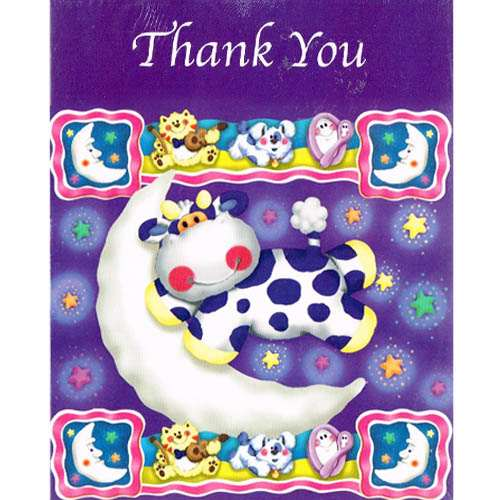 Baby Shower 'Moonlight Moonbright' Thank You Notes w/ Envelopes (8ct)